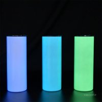 20oz Luminous Tumblers White Sublimation Straight Tumbler Stainless Steel Cup Insulation Coffee Mug Portable Water Bottle with Clear Straw ZC235