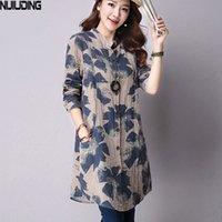 Nijiuding mola nova moda floral impressão algodão blusas casual camisa de manga longa mulheres top com bolsos