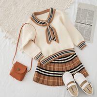 Giyim Setleri Sonbahar Varış Kızlar Örme 2 Parça Suit Üst + Etek Çocuk Tasarımcı Giysileri