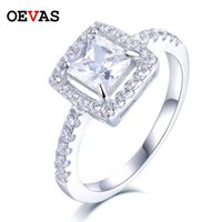 Cluster Rings OEVAS 100% 925 Sterling Silver Sparking Square Zircon Wedding For Women Sparkling Full CZ Anniversary Ring Jewelry