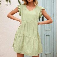 Women Summer Ruffles Loose Casual Short Dress Ladies V-Neck A-Line Short Sleeve Fashion Plus Size Ruched Dress Vestido Feminino