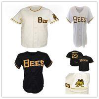 Benutzerdefinierte Mann Frauen YouT 1959 Salt Lake Bienen Baseball Vintage Jersey Nähte Jeder Name Nummern Hemden Sahne Schwarz Weiß Größe S-4XL