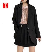 TMODA639 2021 Frühling Sommer Mode Frauen Black Anzug Blazer Langarm Taschenbüro Lady Business Mantel Weibliche Retro Tops