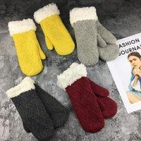 Зимние теплые перчатки шерсть и флисовые трикотажные перчатки без пальцев льна двойные теплые дамы студент перчатки оптом