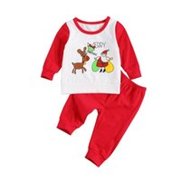 Clothing Sets Christmas Baby Clothes Home Suit Long Sleeve Round Neck Top With Santa Claus Pattern Elastic Pants For Boy Girl Xmas