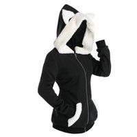 Unisex Long Sleeve Cosplay Cat Ear Faux Fur Zipper Hoodie Sweatshirt Harajuku Hoodies Girls Gothic Sweatshirts Tops Pullovers Women's &