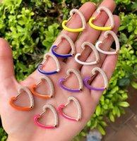 Kleurrijke Mode Vrouwen Sieraden Micro Pave 5a Vonken CZ Neon Emaille Hartvormige Huggie Hoop Oorbel