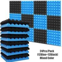 12pcs bleu + 12pcs Noir Couleur mélangée Pyramid Studio Studio Mousse 30x30x5CM Panneaux acoustiques KTV Run Run Pad Fonds d'écran