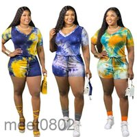 2021 여성용 Jumpsuit 디자이너 V 넥 넥타이 염색 뚱뚱한 여성 대형 지퍼 onesies 짧은 소매 반바지 슬림 rompers 패션 캐주얼 의류