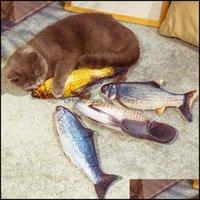 Yenilik Gag Oyuncaklar Giftstj Elektronik Plokpy Balık Kedi Oyuncak Yumuşak Peluş Hediye 3D Hayvan Elektrikli USB Şarj Simasyonu Pet Dr için Catnip Oynarken