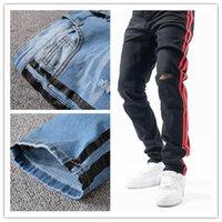 Designer Jeans French Stripe Style Pantalon Slim-jambe Moto Biker Denim Homme Mode Design Houplans Mens Jean S Top Qualité Taille 29-40