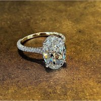 Sprankelende Luxe Trouwringen Sieraden Real 925 Sterling Zilver Grote Ovale Cut White Topaz CZ Diamond edelstenen Eternity Dames Band Ring 1106 B3