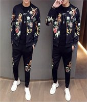 Mens Set Tracksuit Two Pieces Sets Black Jackets Long Sleeves And Pants With 3D Printed Fashion Style Spring Autumn Outwear Sweatsuit Jacket Tops Suits