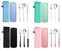 المحمولة أطباق مجموعات أدوات المائدة مجموعة أدوات السكاكين الفولاذ المقاوم للصدأ ملعقة شوكة عيدان عيدان أواني الطعام مربع 3 قطع العشاء مطعم مطبخ HHC7078