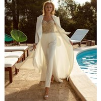 Other Wedding Dresses Dress Jumpsuit With Jacket Sweetheart Top Beaded Bridal Gowns Open Back Sash For Women Lady Sexy