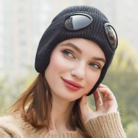 Wool Knitted Goggles Beanie Sports Cap Leisure Thermal Warm Autumn Winter Hat Heat Keeper Ear Snow Cold Protector Cycling Caps & Masks