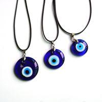 Vidrio turco azul colgante collar collar cera cuerda moda minimalista viento chica amuleto vacaciones regalo hecho a mano viaje conmemorativo