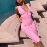 Casual Dresses Ocstrade Summer Women Cut Out Bodycon Sexy Double Deep v Neck Pink Bandage Dress Rayon Evening Party
