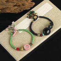 Charm Bracelets Ethnic Style Powder Crystal Wrapped Fashion Women's Bracelet Retro Waterproof Wax Thread Hand-woven Yoga