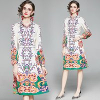 Womens Designer Runway Shirt Neck Dress Clothes 2021 Autumn Long Sleeve Belt Slim Casual Cocktail Party Work Dresses For Woman