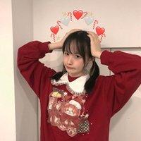 Women's Hoodies & Sweatshirts Japanese Sweet Christmas Bear Women Cute Retro Pullover Blouse Ins College Style Jk Uniform Bowknot Harajuku S