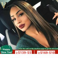 VLwigs Ombre Highlight Hair Wig 13x4 Lace Front Wigs Brown Honey Blonde Colored Full Lace Wig Remy Straight 150 Density VL45