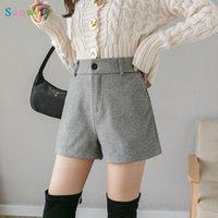 DonaMol Plus Размер стиль 2021 осень зима женщин шерстяные ткани A-Line Shorts повседневная средняя талия кнопка Широкая нога женщин