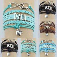 Infinity Love Enseigner des pommes Apple Charme Charme Wrap Bracelet multicouche Cadeaux personnalisés Femmes Hommes Bracelets Bijoux
