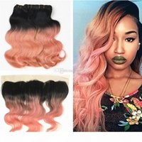 Brazilian Body wave 1B Rose Gold Hair With Full Lace Frontal 13*4 Ombre 1b Rose Gold Hair Bundles With Lace Frontal
