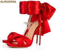 ALMUDENA Red Satin Cloth Big Bowtie Sandals Stiletto Heels Silk Fabric Lace-up Butterfly-Knot Wedding Shoes Celebrity Stage Pump
