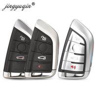 jingyuqin 3/4BTN Smart Card Car Shell Case For 1 2 7 Series X1 X5 X6 X5M X6M F Class Remote Key Fob Cover Insert Blade