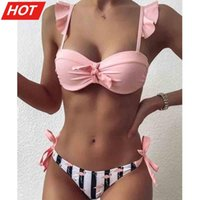 Striped Lace Ruffle Push Up Women Bandeau Swimsuit Female Swimwear Bra Cup Bikini Set High Cut Bathing Suit F72 Women's