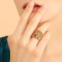 Cluster Rings Wide Gold Color Finger Ring Multicoloured Rhinestones Paved Cocktail For Women Fashion