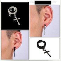 Männer S Punk Hypoallergens Kein Piercing Ohrringe für Frauen Cross Star Waffe Gecko Tower Baumeln Clip auf Ohr LX0399