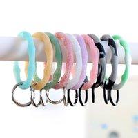 Shiny Silicone O Bracelet Key rings Fashion Circle Exaggeration Wrist Keyring Accessories Glitter Keychain Women Gift