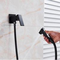 SHBSHAIMY Black Brass Bathroom Bidet Faucets High Pressure Sprayer Shower Tap Bidet Toilet Washer Hot and Cold Water Mixers