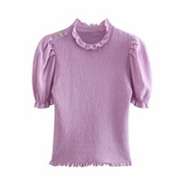 PUWD Slim Women O Neck Puff Sleeve Blouse Summer Fashion Ladies Fresh Vintage Female Knitted Short Stretchy Sweater Top 210524