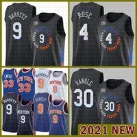 НовыйЙоркKnicks 2021 Новый RJ 9 Barrett Баскетбол Джерси Патрик 33 Ewing Mesh Ретро 30 Юлий Рэндл Мужская 4 Деррика Роза Дешевый Оранжевый Хаки Желтый