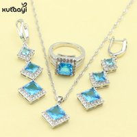 Earrings & Necklace XUTAAYI Fashion Silver Color Jewelry Sets For Women Blue Cubic Zirconia Classy Rings Wedding
