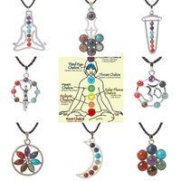Angel Meditation Flower Seven Beads Natural Quartz Stone Pendant Necklace Healing Point Chakra Reiki Pendent Necklaces