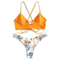ملابس السباحة المرأة جميلة بيكيني مجموعة زهرة طباعة قطعتين ملابس السباحة بوازويبات بحر ارتداءها swimdress tankini biquini # 30