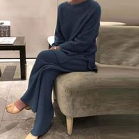 Women's Two Piece Pants Autumn Winter Women Soft Set Fashion Homewear Solid O Neck Pullover Tops Knitted Elegant Lady Pajama Suit