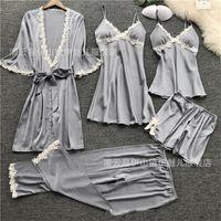 5 조각 잠옷 세트 2020 여성 새틴 잠옷 섹시한 레이스 잠옷 잠자기 라운지 Pijama 실크 밤 홈 의류 잠옷 세트 579 S2