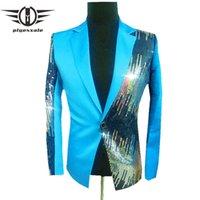 Plyesxale Brand Sequin Blazer Hommes Royal Blue Jaune Black Rose Rose Rose Violet Blazers pour Men Singer Costume Costume Blazer Q229 x0615