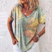 Camicette da donna Camicie retrò donne camicetta camicia estate moda estate mappa geometrica stampa allentata manica corta V scollo a V scollo top ropa de mujer b
