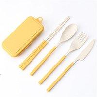 Conjunto de talheres de cutelaria de palha de trigo conjunto Kids faca garfo colher chopsticks kits portáteis para viajar e acampar hhd5923