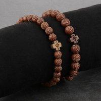 Chapelet religieux perles en bois naturel bracelets de prière pour femmes femelle rose bracelet perlé bracelet cordes élastiques chaîne bijoux de bijoux,