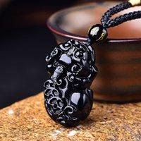 Colar Pingente Obsidian Grande Três Moeda Suave Rosto Men's e Mulheres Nelace Crystal Bla Stone Couro