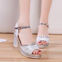 Sandals Sandálias femininas plataforma da moda, tira com fivela, sandálias boêmias para mulheres, sapatos quadrados de salto alto brilho, SUOI