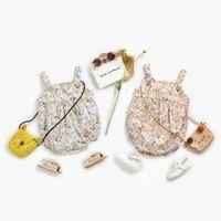 2021 Ins Baby Girl Kidsクライミングロンパースサスペンドフルフラワーデザインロンパース100%コットンサマーベビーガールリンゴ0-2T 996 Y2